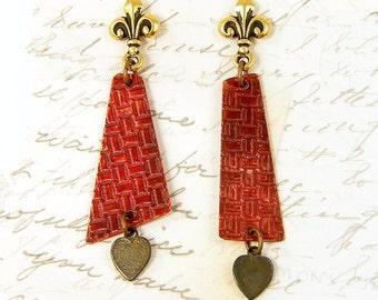 Asymmetric Earrings - Red Dangle Geometric Textured Metal Fleur de Lis Post Jewelry