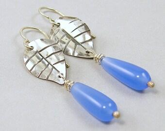 Blue Drop Earring - Sterling Silver Leaf Handmade Metalwork Cornflower Teardrop Dangle Bead Jewelry |AB3-13