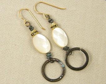 Cream Earrings, Mother of Pearl Earrings, Brass Dangle Earrings, Neutral Earrings, Rustic Earrings, Rhinestone Boho Fashion Jewelry |EC3-44