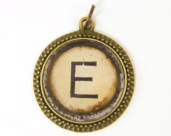 Letter E Initial Pendant - Alphabet Personalized Resin Brass Circle Monogram Rustic Jewelry Charm
