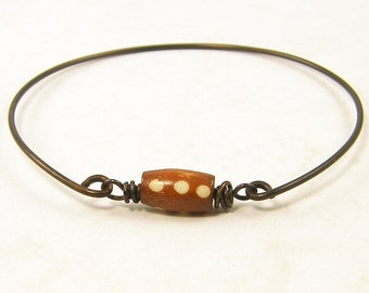 Brown Bangle Bracelet - Minimalist Tribal Stacking Bracelet Caramel Bead Dark Brass Wire Jewelry |BC1-16