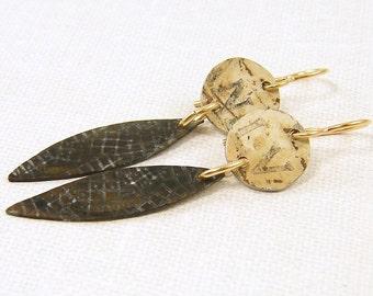 Textured Metal Earrings Mixed Metal Brass Drop Earrings Upcycled Rustic Dark Patina Earrings Boho Dangle Earrings |EC3-41