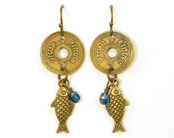 Gold Coin Earrings, Gold Fish Dangle Earrings Asian Coin Earrings Brass Turquoise Boho Dangle Earrings Gypsy Jewelry |EC2-3