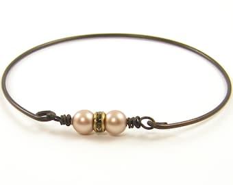Blush Pearl Bracelet, Pearl Rhinestone Bracelet, Dark Brass Bracelet, Wire Bangle Bracelet, Rustic Bracelet