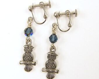 Owl Clip on Earrings, Silver Clip Earrings, Blue Dangle Clip Bird Woodland Silver Screw Back Dangle Earrings |EC1-13