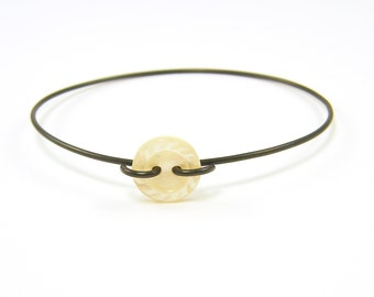 Button Bangle Bracelet - Minimalist Black White Stacking Thin Wire Jewelry