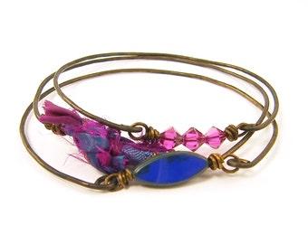 Pink Blue Bangle Bracelet Set Hot Pink Cobalt Blue Wire Bracelet Stack Rustic Silk Bracelet Wire Bangle Stacking Boho Chic Gypsy Fashion