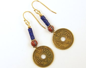 Coin Earrings, Boho Earrings Tribal Coin Jewelry Blue Gypsy Dangling Trade Bead Asian Fashion Under 25 for Her |EC1-8