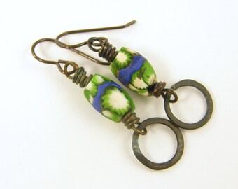 Tribal Earrings - Green Blue White African Trade Bead Brass Hoop Rustic Ethnic Jewelry