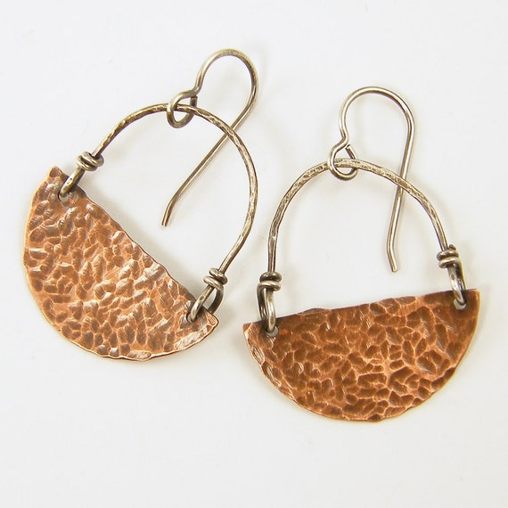 Copper Earrings - Hammered Textured Oxidized Copper Half Circle Earrings