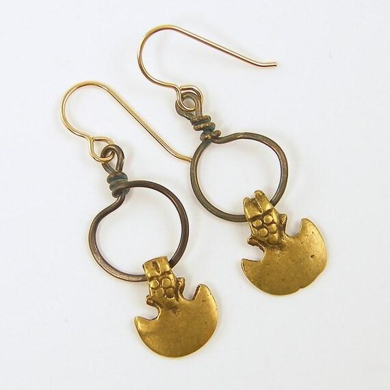 Tribal Earrings, Dagger Earrings, Mixed Metal Earrings, Gold Crescent Earrings, Brass Hoop Dark Patina Rustic Jewelry