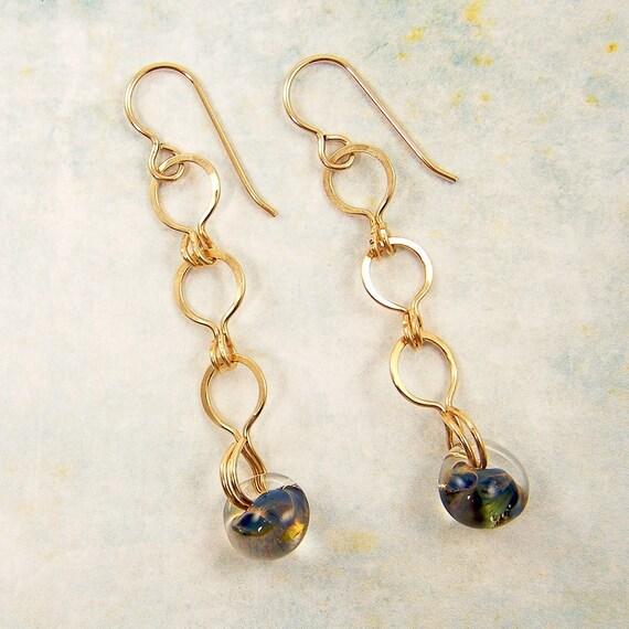 Gold Chain Dangle Earrings - Blue Green Teardrops Bead Handmade Link Earrings