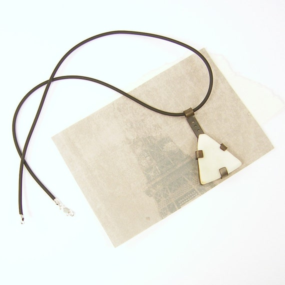 Black White Necklace - Pottery Shard Pendant Reclaimed Found Object Cream Off White Upcycled Recycled Recycle