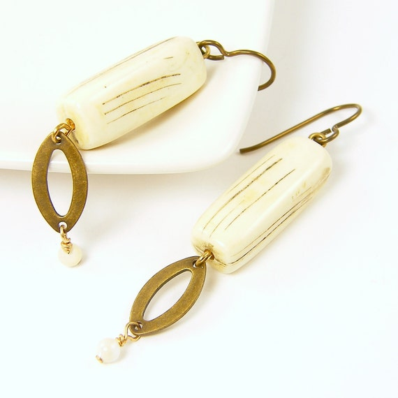Cream Earrings - Carved Off White Rectangle Brass Dangle Rustic Boho Jewelry