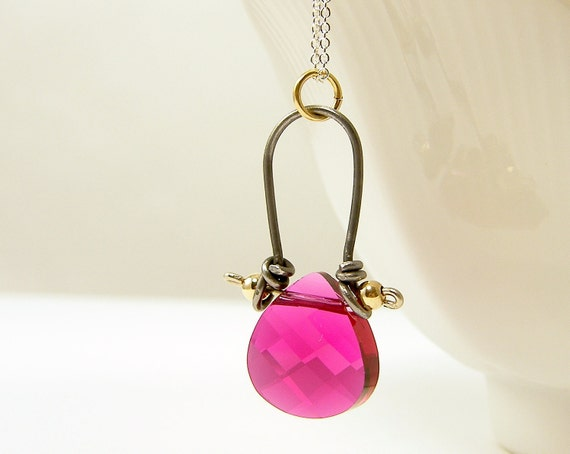 Pink Crystal Necklace Swarovski Briolette Pendant Wirework Steel Sterling Silver Fashion for her Under 25 Fuchsia Hot Pink
