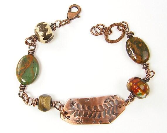 Fern Bracelet - Oxidized Copper Jewelry Green Brown Chunky Bead Bracelet Stamped Metal Woodland Jewelry