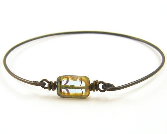 Aqua Bead Bracelet, Stacking Bangle Bracelet, Wire Bangle, Brass Focal Bead Rustic Stacking Bangle