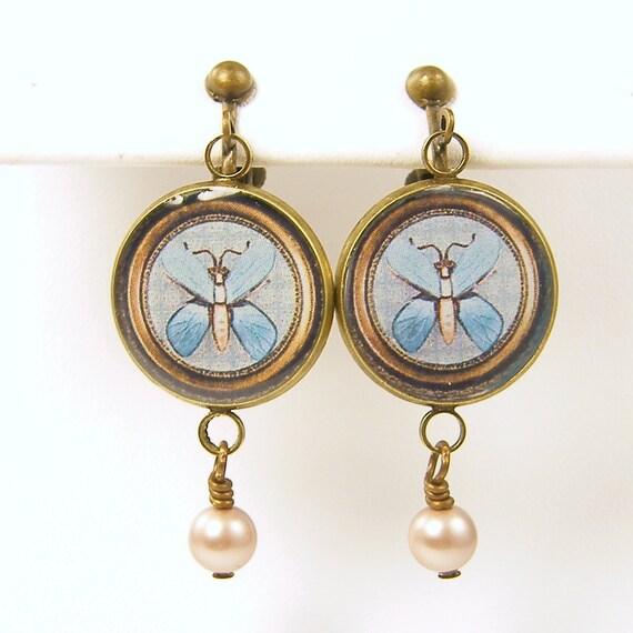 Blue Clip Earrings - Butterfly Vintage Brooch Pearl Dangle Clip on Screw Back Earrings
