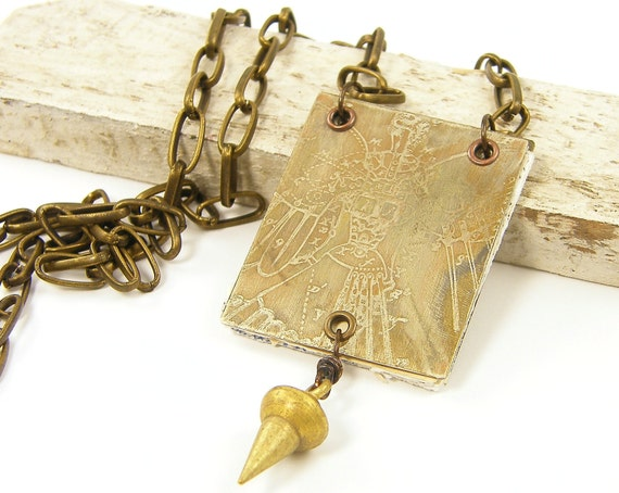 Book Necklace Steampunk Jewelry Etched Metal Pendant Bird Woman Industrial Jewelry Chain Necklace  NC2-4