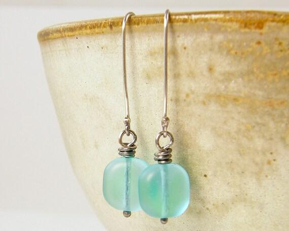 Aqua Earrings Sterling Silver Long Earwire Jewelry