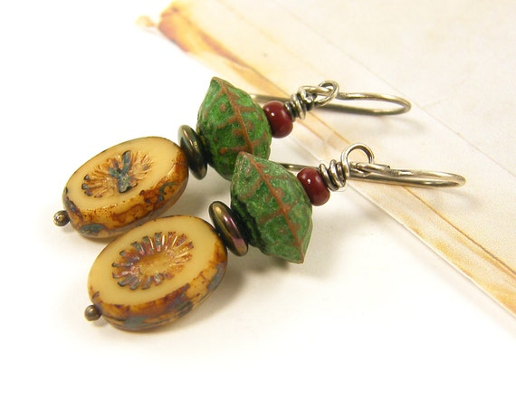 Beige Earrings - Rustic Tan Green Red Dangle Earrings Bead Patina Metal Sterling Silver Wire Wrapped Jewelry
