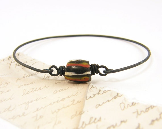 Trade Bead Bracelet, Brass Bangle Bracelet, Black Bracelet, Tribal Stackable Wire Bangle Rustic Dark Stacking Jewelry