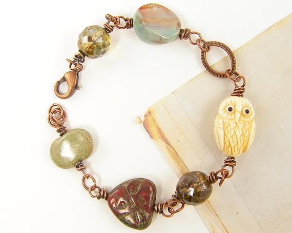 Owl Bracelet - Chunky Bead Bird Woodland Copper Link Ivory Red Rust Aqua Chain Link Jewelry
