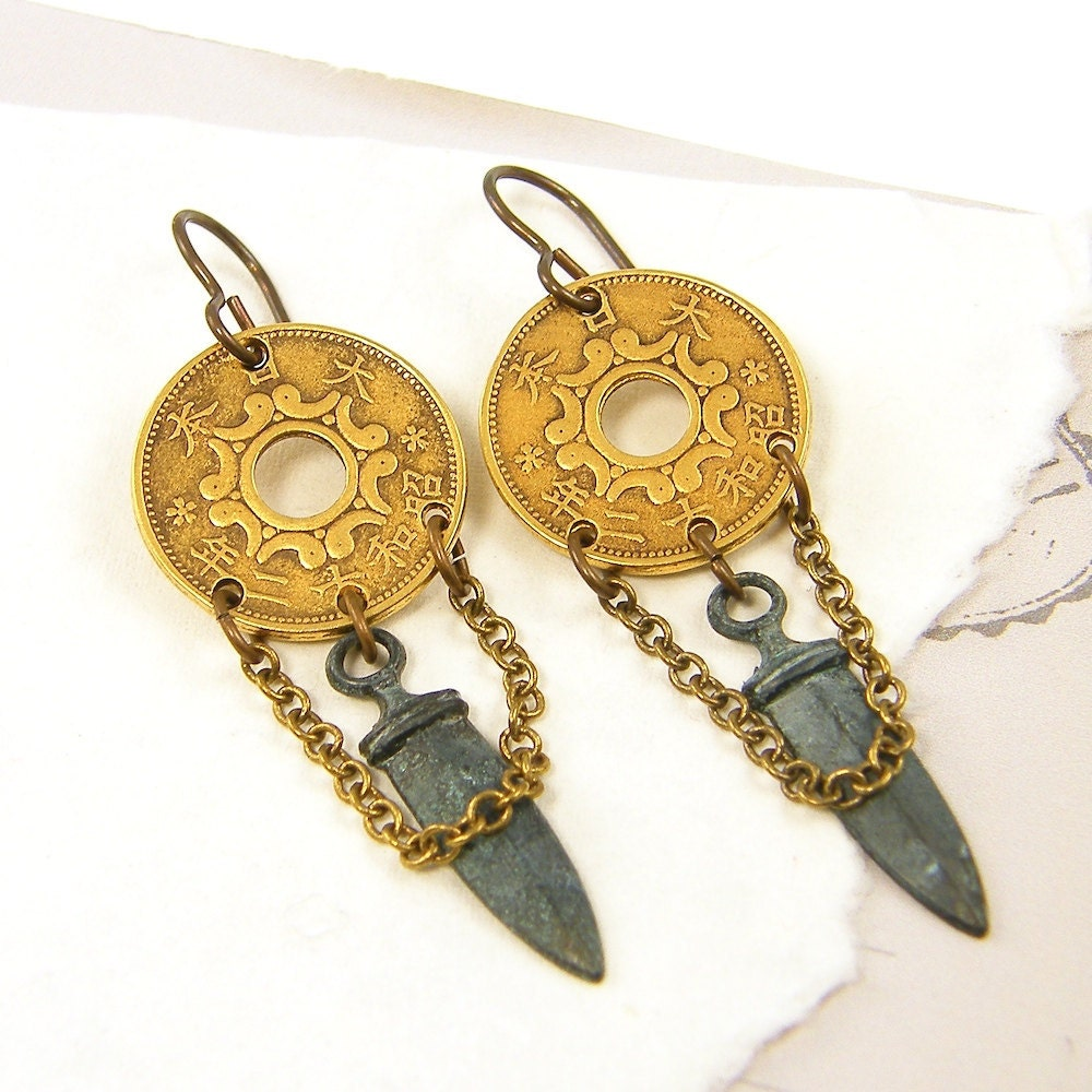 Coin Earrings on Coin Earrings Dagger Ethnic Tribal Mixed Metal Jewelry