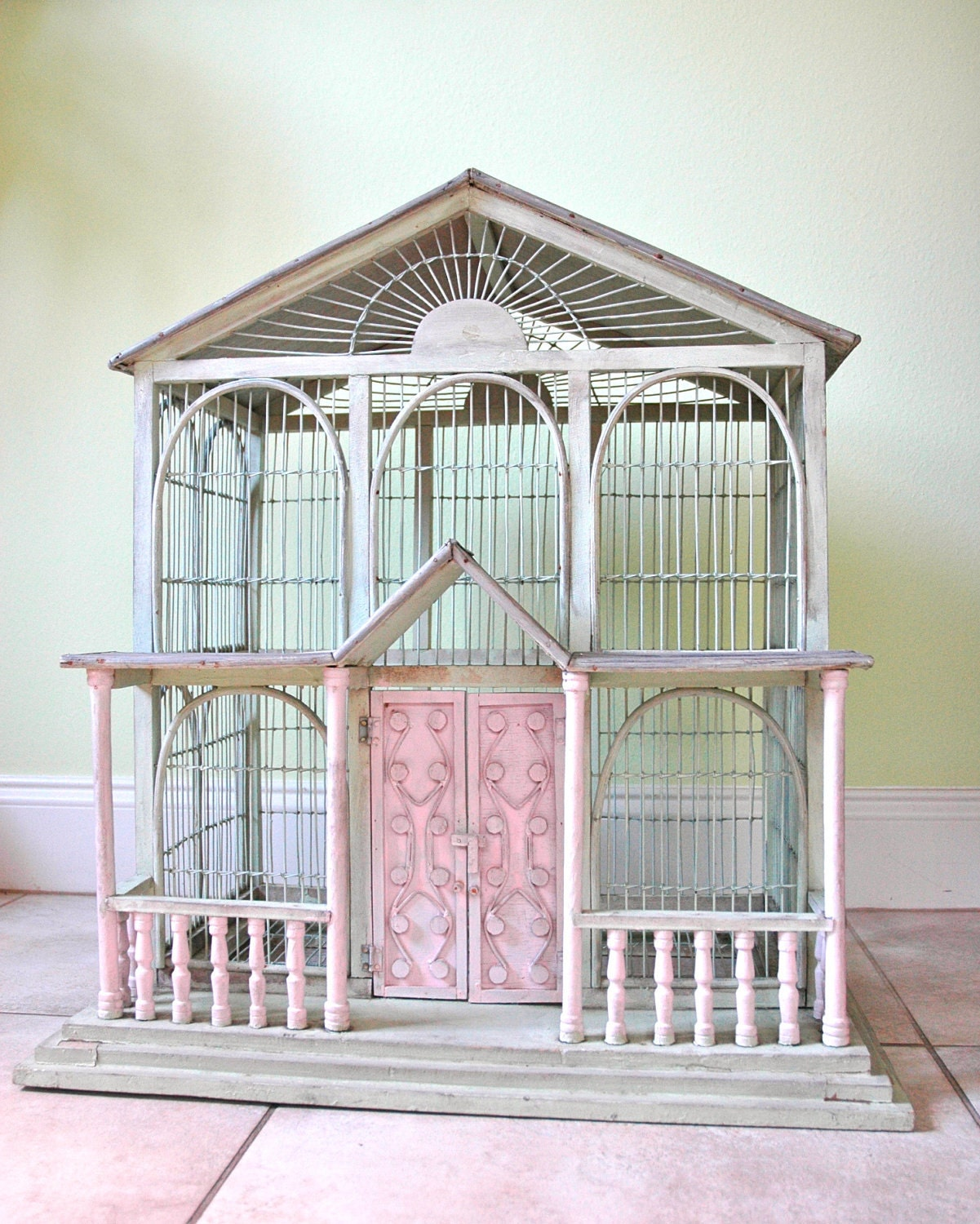 items similar to sale large antique shabby chic bird cage on etsy. Black Bedroom Furniture Sets. Home Design Ideas
