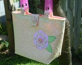SALE  Simple Sweetness Tote Purse with flower applique and pink handles