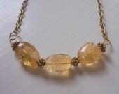 Citrine Necklace Citrine Nuggets Gold Vermeil Vintage Brass Chain Necklace