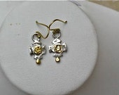 Gold and Silver Sapphire Earrings