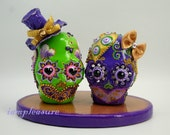 Skull green and purple cake topper bride and groom ST0004