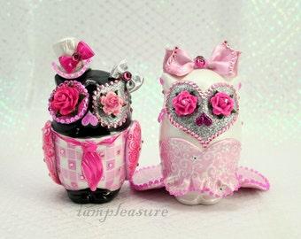 Owl weddings cake topper handmade pink & black bride and groom OT0004