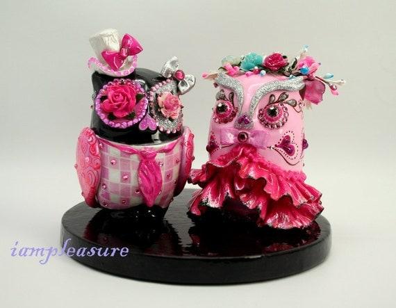 Owl super-pink weddings cake topper handmade bride and groom OT0007