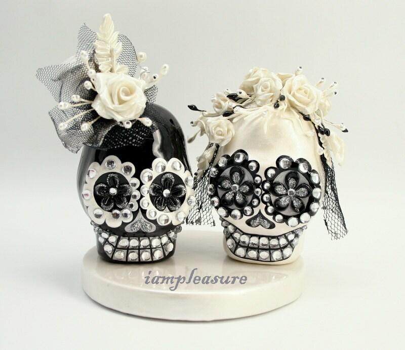 Skull Black White Weddings Cake Topper Handmade Bride And