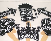 6 Chalkboard Photobooth Props -  Chalkboard Wedding Photo Props