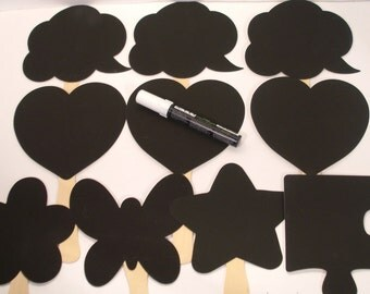 10 Wedding Chalkboard Photo Props- Plus A CHALK MARKER Pen- set of 10 -  chalkboard props