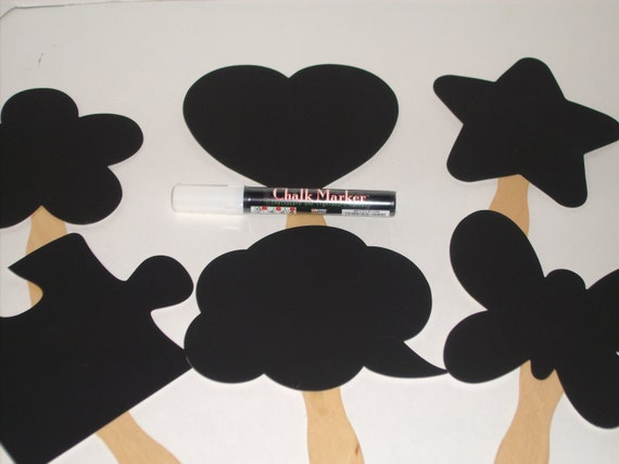 Chalkboard  Photobooth Photo Prop -  Set of 6  -Includes One Chalk Marker - Fast Shipping