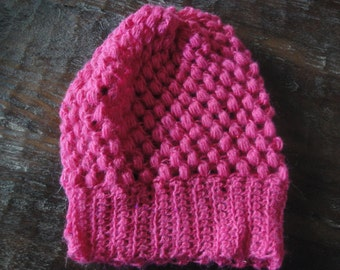 Pink Puff Stitch Slouchy Crochet Hat