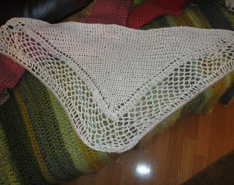 White Crocheted Shawl w Gray Edge