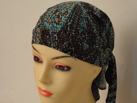 bandanna-mix print of turquoise, brown and black