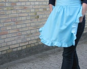 Retro frilly women's half apron turquoise aqua blue cotton with polkadots