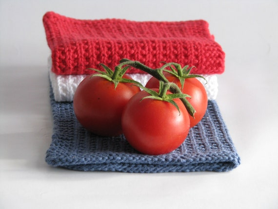Hand knitted dish cloths - wash cloths - soft cotton set of 3 red white blue