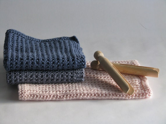 Hand knitted dish cloth - wash cloth - soft cotton set of 3 blue dusty rose