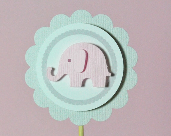 Elephant Cupcake Toppers for Baby Girl Shower  -  Birthday Party - Pink and Grey - Set of 24