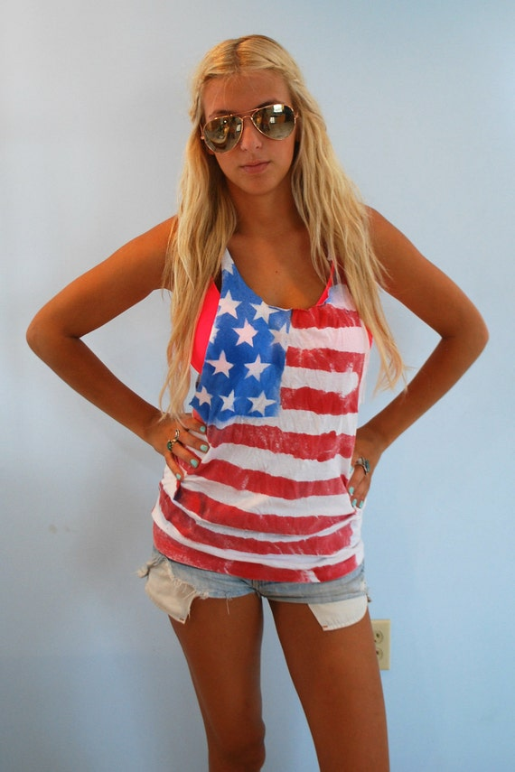 Spray Painted American Flag Tank Top (WITH EXPRESS SHIPPING)
