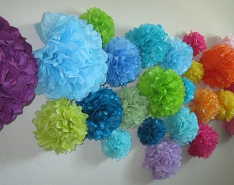 Tissue Paper Pom Poms, Wedding, Party and Showers... SET of 10...YOU PICK colors
