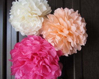 Tissue Paper Pom Poms, Weddings, Showers and Parties Set of 3 Medium ...YOU PICK COLORS