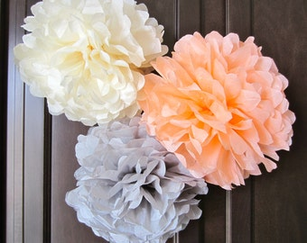 Tissue Paper Pom Poms, Weddings, Showers and Parties... SET of 3 ...YOU PICK Colors